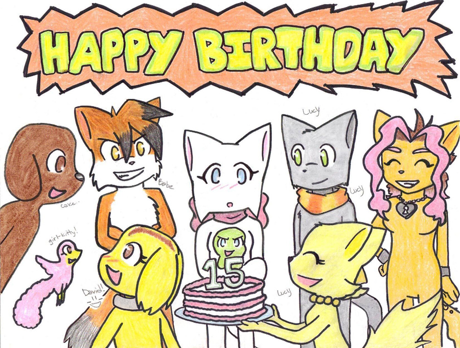 Candybooru image #20, tagged with Chappetic-marina_(Artist) Chirpy Daisy David Kizuna Lucy Mike Paulo Tess Yashy birthday cake