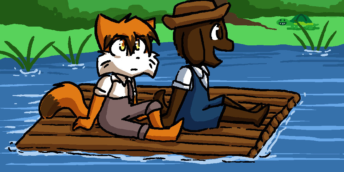 Candybooru image #8658, tagged with David Drawathon_2014 Huck_Finn Paulo Taeshi_(Artist) Tom_Sawyer Turtle parody