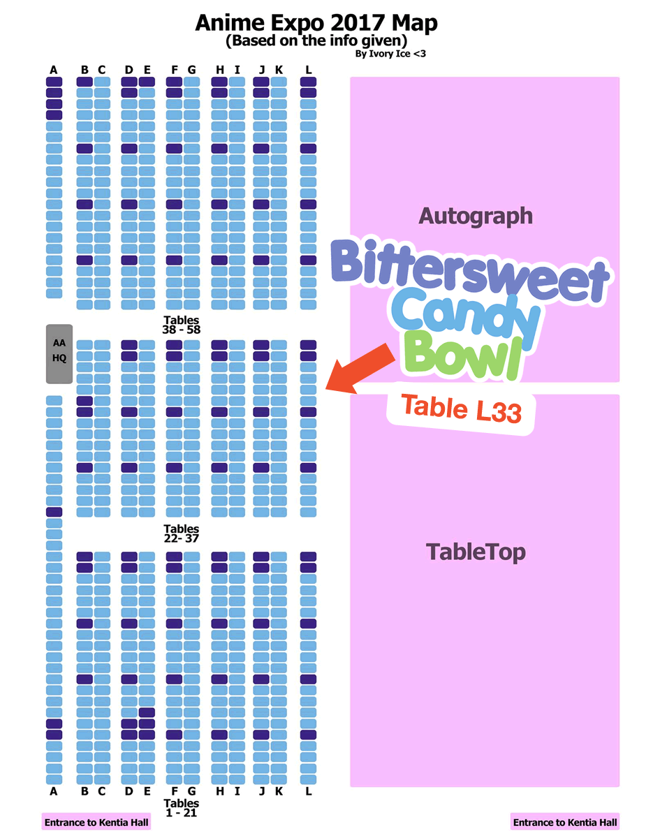A map to the artists alley at AX 2017.
