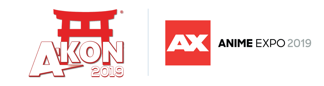A-Kon 2019 and Anime Expo 2019 logos
