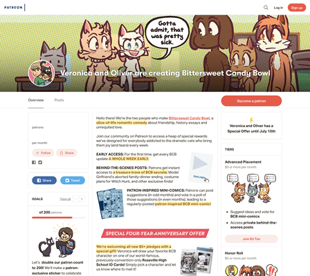 A screenshot of the lovely new Patreon