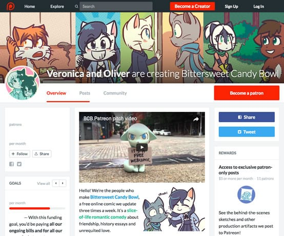 The Patreon page.
